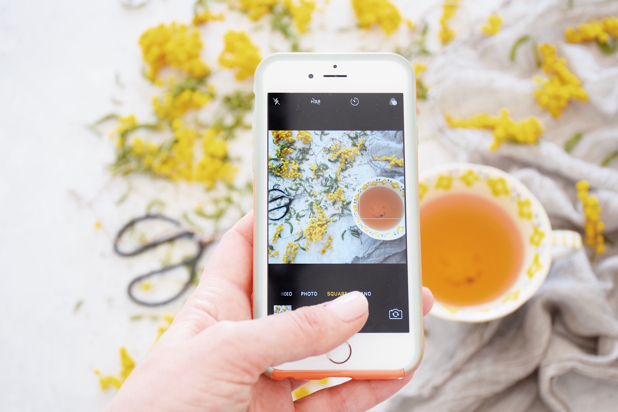 Taking a photo of tea with mobile phone for social media